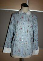 THOMAS RATH SEMI COUTURE, Luxus Bluse mit Logo Symbolen, Gr. 42, WIE NEU