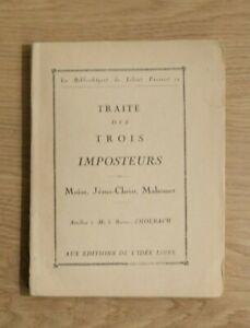BARON D'HOLBACH. Traité des trois imposteurs. Moïse, Jésus-Christ, Mahomet