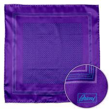 BRIONI Hand Made Rolled Purple Geometric Silk Pocket Square Handkerchief Hanky