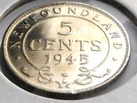 1945 Newfoundland Canada Five 5 Cent Small George VI Whizzed Coin K976