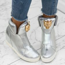 AMAZING WOMENS  WEDGE HIGH TOP SNEAKERS TRAINERS.. Gold***Silver ++++&&