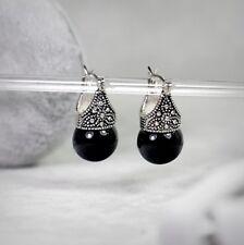 Boucles d`Oreilles Argenté Perle Noir Gravure Retro Class BB 9