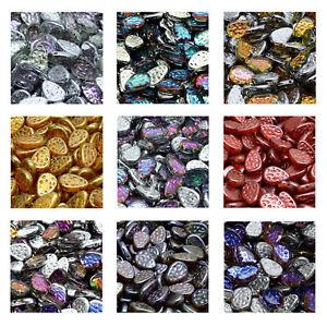 Rutkovsky 111-95055 Flat Dotty Tear Drop Czech Glass Beads 9x11mm 10g Pack