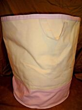 Pottery Barn Kids Pink Canvas Floor Tote Mono nz Partly Removed EUC