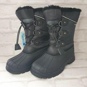 Mountain Warehouse Whistler Kids UK 12 EU 30.5 Black Fleece Lined Snow Boots NEW