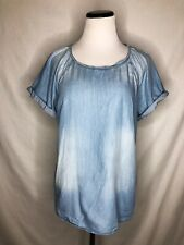 Anthro Cloth Stone Womens Size Medium Pullover Blue Blouse Factory Fading