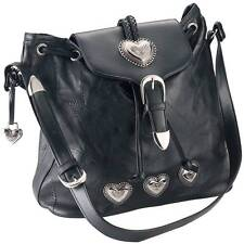 WOMENS EMBASSY LEATHER SILVER HEART PURSE HANDBAG SHOULDER BAG TOTE - LUPHRT