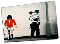 Kissing Coppers and George Best Banksy Street Photo Print On Framed Canvas Art