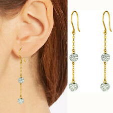 f5c55a84fc30 14k Oro Amarillo Brillante Cable Cadena Eslabones con 2 Blanco Bola de  Cristal