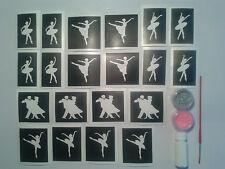 Dance themed glitter tattoo set incl 20 stencils + glitter + glue   ballet girls