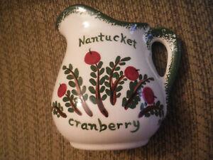 NOLA WATKINS Handpainted Pottery Nantucket Cranberry Mini Pitcher