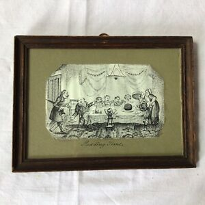 """Victorian Pen & Ink Drawing """"Pudding Time"""""""
