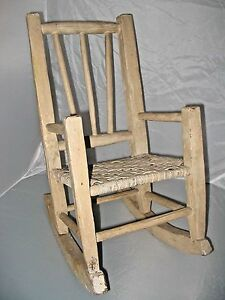 """CHILD'S ROCKING CHAIR - PRIMITIVE CANE SEAT """"INDIANA HICKORY CHAIR"""" Antique  EUC"""