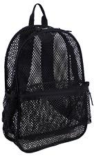 """Eastsport 18"""" Mesh Backpack Black Adjustable Padded Straps School Bag See-Thru"""