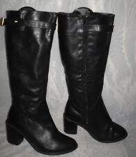 WOMENS NEW LOOK BLACK ZIP SYNTHETIC HIGH HEEL UPPER CALF BOOTS SIZE:6/39(WB1050)