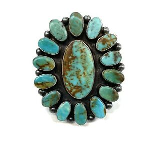 R309 Genuine 9ct 9K Yellow Gold Natural Turquoise /& Pearl Oval Cluster Ring