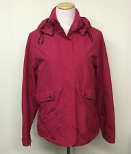 Lands End Womens PETITE Lightweight Pink Jacket Sz M 10-12 Zip Off Hood Nylon