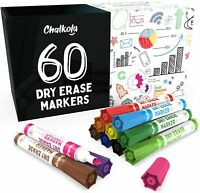 Dry Erase Markers, Pack Of 60 (With Chisel Tip) 12 Assorted Colors Wit Low-Odor