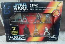 STAR WARS Diecast 6 figure set Exclusive trading card Boba fett power force