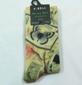 K Bell Womens Merino Wool Vintage Butterfly Post Cards Beige Crew Socks Sz 9-11