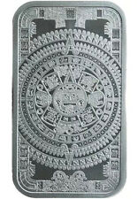 5 oz Silver 999 Fine Aztec Warrior Cuahtemoc & Calendar Mexico Bar Ingot
