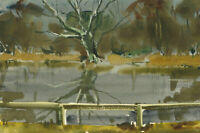 Clifford H. Thompson (1926-2017) - Contemporary Watercolour, Lake with a Tree