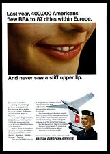1967 British European Airways BEA smiling stewardess plane color photo print ad