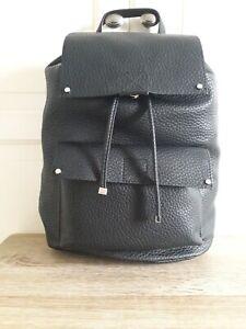MARKS & SPENCER Black Large Pebbled Faux Vegan Leather Drawstring Backpack