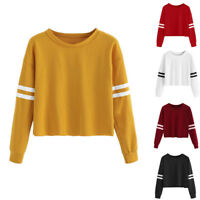Womens Long Sleeve Round Neck Sweatshirt Blouse Tops Pullover Sweater Jumper
