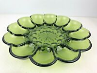 Vintage Indiana Glass 10 Inch Emerald GREEN Deviled EGG PLATE Party Dish Heavy