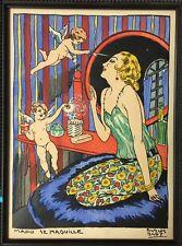 "Carlos Bady: Fine Original Pochoir ""Mado se Maquille"" 1932 Paris Galerie Lutetia"
