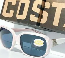 NEW* COSTA GANNET White Pink Shell POLARIZED 580P GRAY Womens Sunglass GNT 121