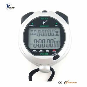 LEAP Waterproof Large 2 row display 50 recallable Swimming Stopwatch Sport Timer