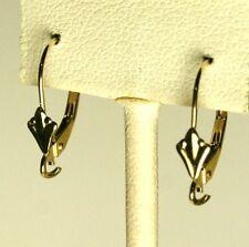Solid 14K yellow gold Fleur-de-Lis leverback earrings finding 0.6 gram