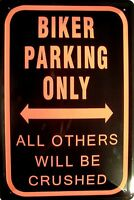 Biker parking only Blechschild Metallschild Schild gewölbt Tin Sign 20 x 30 cm