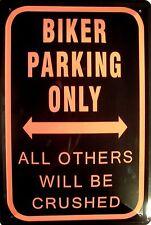 Biker parking only Blechschild Schild Blech Metall Metal Tin Sign 20 x 30 cm