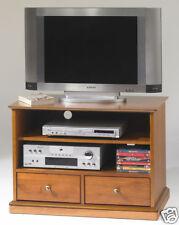 Meuble TV Hi Fi 2 tiroirs sur roulettes merisier Florac