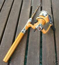 GOLD Mini Fishing Fish Rod Pen Spin Reel Pole Fly Stick