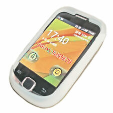 Silikon TPU Handy Cover Case Hülle Kappe in Weiß für Samsung S5670 Galaxy Fit
