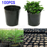100pcs Plant Grow Bags Pot Plastic Pouch Nursery Seed Raising Bag Garden Black