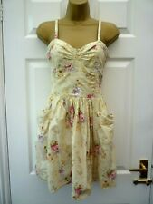 MISS SELFRIDGE Ladies Size 8 Yellow Pink Floral Summer Strappy Tea Dress Pockets