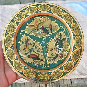 Vintage Tin Wall Decorative Plate Pretty Birds Litho Print Green Shaded Plate