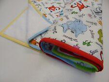 Bassinet Pram Crib Baby Blanket Dr Seuss 90cm x77cm Minkee Fleece Back Handmade