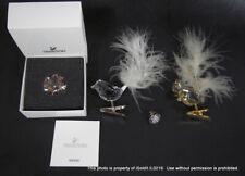 4 SWAROVSKI CRYSTAL CHRISTMAS TREE CLIPS Squirrel Bird, FIGURINE, TIE TACK