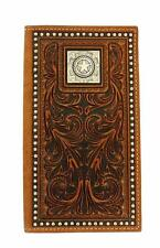 Nocona Western Mens Wallet Rodeo Leather Tooled Studs Star Concho Brown N5410402