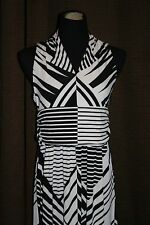 CHAUS~SIZE SMALL~ LONG BLACK AND IVORY~ GEOMETRIC LINES DRESS~
