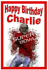 AMERICAN FOOTBALL - PERSONALISED FUN BIRTHDAY CARD - ANY NAME - BRAND NEW -