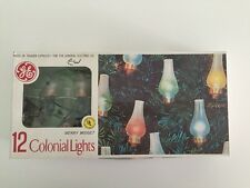 VTG 12 COLONIAL LIGHTS Colored MERRY MIDGET CHRISTMAS TREE GE Chimney Design