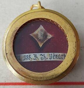 369) Gilding Brass reliquary 1st class relic St Theophane Venard Martyr Tonkin
