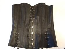 New GENUINE LEATHER Corset! Black Overbust Extra Lacing! 32 Metal busk! SEXY XL?